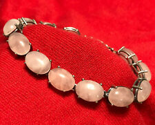 """Sterling Silver 925 Oval Natural Rose Quartz 8"""" Ladies Tennis Bracelet"""