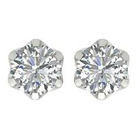 Screw Back Solitaire Studs Earrings SI1 G 1.50 Carat Natural Diamond White Gold