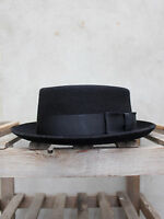 Pork Pie Hat by Christys' - Black Pork Pie Hat Wool-Felt UK Made by Christys'