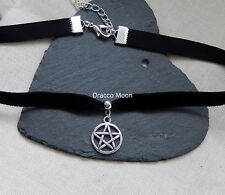 Gothic Black Velvet Choker/Necklace Pentagram/Pentacle WiccaN/Pagan UK