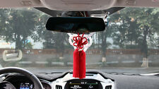 A Set Car Rearview Mirror Charms Vip Gift White Kin Rope & Red Chinese Knot New