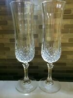 Two Cristal D'Arques Longchamp Fluted Champagne Glasses set of 2 Crystal Glasses