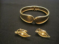 Vintage Lot of Sarah Cov. Jewelry ~ Hinged Bracelet and Clip Faux Pearl Earrings