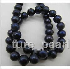 "10-11MM AAA Real tahitian black pearl necklace 18"" beautiful"