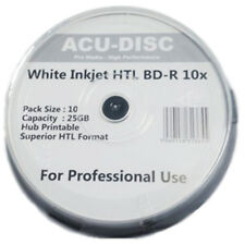 20x BD-R ACU-DISC BLU-RAY 10X SPEED WHITE INKJET PRINTABLE DISCS 25GB - 10 PACK
