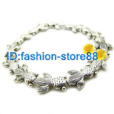 Lucky Lovely Goldfish Bracelet Tibetan Silver Charm Charming Elasticity Bangle