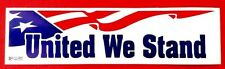 "UNITED WE STAND Vinyl Decal 3"" x 11 1/2"" AMERICAN FLAG DESIGN"