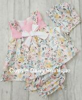 upto 24mths Girls Spanish Pink Waffle Ribbon /& Lace Dress /& Bloomers