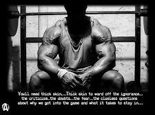 "Bodybuilding Fitness Motivation Motivational  Fabric poster 17"" x 13""Decor 49"