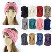 Women Girl Crochet Headband Knit Bowknot Hairband Ear Warm Winter Headwrap HOT
