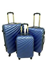 Hard Shell Light Weight 4 Wheel Spin Suitcase ABS Luggage Case - Blue Set Of 3