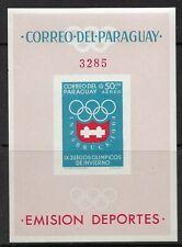 STAMPS-PARAGUAY. 1963. Winter Olympics-Innsbruck Imperf M/Sheet. Mi: BL 49. MNH