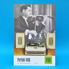 Parfait 406 Heim-Stéréo-Annexe RDA 1971 prospectus publicité publicitaire feuille Dewag p31 U