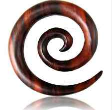 PAIR OF 2G (6MM) SUPER SPIRALS SONO WOOD STRETCHERS TALONS PLUGS EAR PLUG HANGER