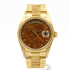 ROLEX PRESIDENT 18K DAY DATE BARK FINISH WOOD DIAL RARE W/BOX PAPERS NR #3906