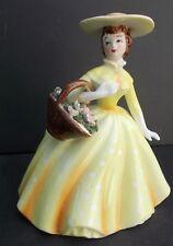Vintage LEFTON LADY BELLE PLANTER POLKA DOT DRESS Floral Basket Extended Hands