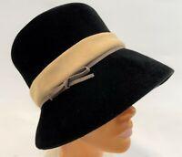 Vintage 1950s Mod Gogo Black Velveteen Peach Basket Cloche Hat Cap Size Large