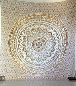 Gold Indian Ombre Mandala Tapestry Wall Hanging Bedspread Throw Dorm Tapestries