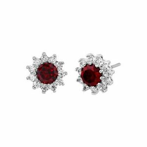 Finecraft 'Red Flower Stud Earrings with Cubic Zirconia' in Rhodium-Plated Brass