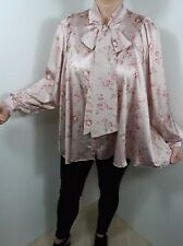 Pussy Bow Blouse Tie Neck Puff Sleeves Oversized Pink Florals Swing Silky NEW
