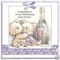Handmade Personalised Wedding Day Congratulation Card Bear Champagne