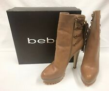 bebe Dani Lace Up Tassel Leather Boots - Beige Size 10 $179