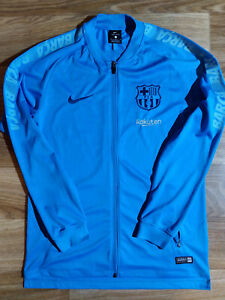 NIKE FC BARCELONA DRY SQUAD Tracksuit Top Jacket Soccer Sweatshirt Blue 894341