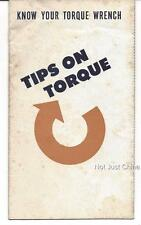 Vintage Car - Mr. Torque Wrench - Tips on Torque - 10 Page Pamphlet or Brochure