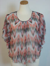 KAREN KANE Silk Sheer Multi Color Scoop Neck Ruffed Blouse Top Plus 1X NWT
