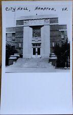 1950 Realphoto Postcard: City Hall - Hampton, Virginia VA
