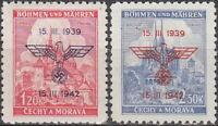 Stamp Germany Bohemia Czech Mi 083-4 Sc 60-1 1942 WWII War Era Fascism MNH
