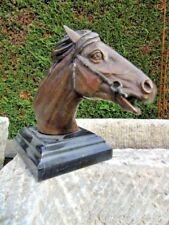 CHEVAL BUSTE EN BRONZE ,statue animalière une tête de cheval sur marbre