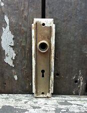 "VTG Old Shabby Rustic Deco Metal Keyhole Door Knob Backplate Cover Hardware 7"""
