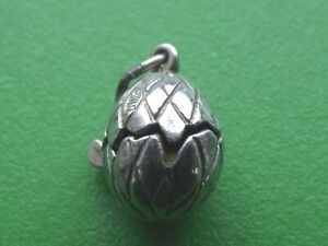 VINTAGE STERLING SILVER EGG WITH ENAMEL CHICK CHARM