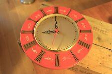 Vintage Mid-Century Orange / Gold Wall Clock with Zodiac Signs – Retro! –