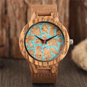 Creative Weave Wood Watch Analog Quartz Display Men Bamboo Wristwatch Bracelet