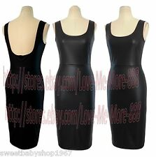 Womens Celebrity Casual BACKless Sheath PU Fitted Bodycon Midi Dress BLACK Large