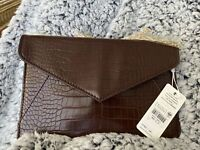 Urban Expressions NWT Vegan Animal Clutch Handbag Brown Chain Strap Foldover