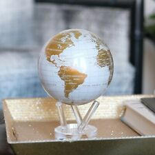 MOVA White and Gold Globe 4.5 Inch Spinning Moving Rotating Earth