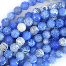"10mm faceted light blue agate round beads 15"" strand"