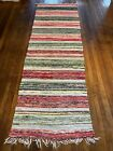 Bright Antique Swedish Hand Made Rag Rug (28 x 87 inches)