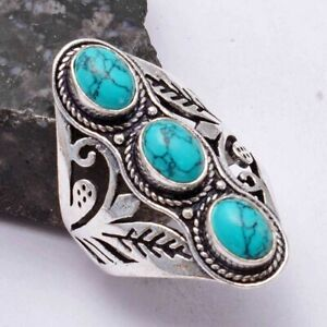 Turquoise Ethnic Handmade Ring Jewelry US Size-9 AR 40830