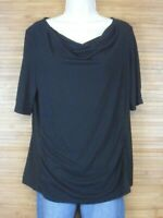 Royal Robbins Black Standard Fit Ruched Short Sleeve Blouse Womens size Large L