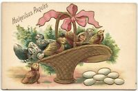 Easter chicks in basket  with eggs cute embossed artist postcard vintage