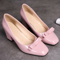Women Round Toe Sweet Bow Slip On Block Heel Comfort Party Dress Pumps Shoes