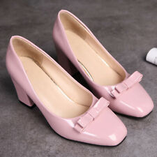 Women's Round Toe Cute Bow Slip On Block Heeled Party Work Pumps Shoes US 6 Pink