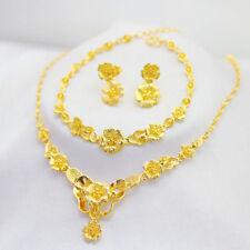Necklace Bracelet Earrings Set Royal Flowers Women's 24k Yellow Gold Filled New