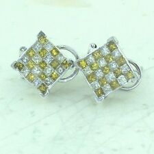 Solid 14K White Gold Canary & White Princess Cut Invisible Set Diamond Earrings