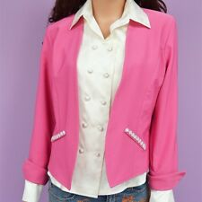 Women Slim Pink Reversible Casual Blazer Jacket Coat Long Sleeves Size XS-S-M-L