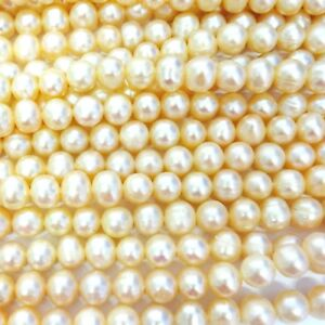 "15"" Champagne 8mm Fresh Water Potato Pearl Beads"